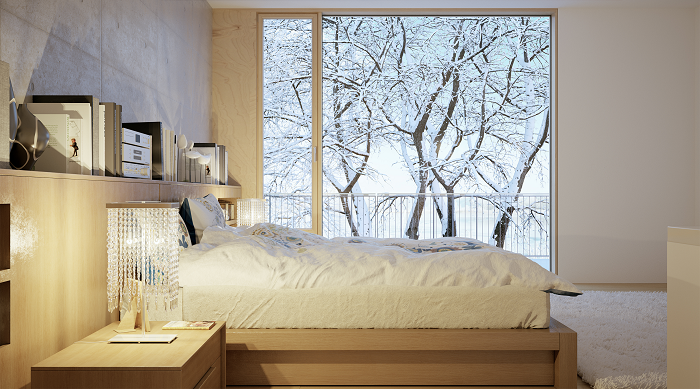 en el caso de que se disponga de un dormitorio grande cabe la solucin de colocar la cama en un primer plano o por el contrario